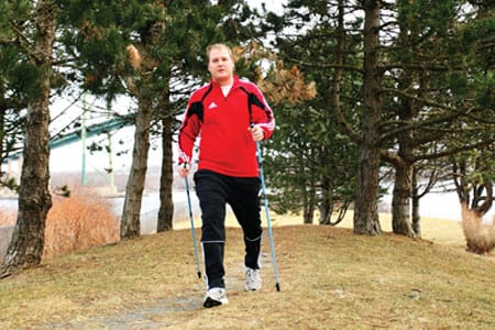 Nordic walking is a great way to get fit and have fun, says Michael Beazley, who says the sport has helped him recover from a back injury. Left: gear up; good walking shoes and a set of poles are all you need to get started.