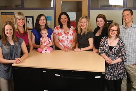 Researchers at the Centre for Pediatric Pain Research at the IWK Health Centre in Halifax recently conducted a study on mindfulness and pain in adolescents. Team members, from left: Leah Wofsy, Melanie Noel, Jennifer Parker (with her daughter, Madelyn Hanscomb), Dr. Christine Chambers, Katelynn Boerner, Bryanne Harris, Kathryn Birnie and Mark Petter. Photo Credit: Nick Pearce