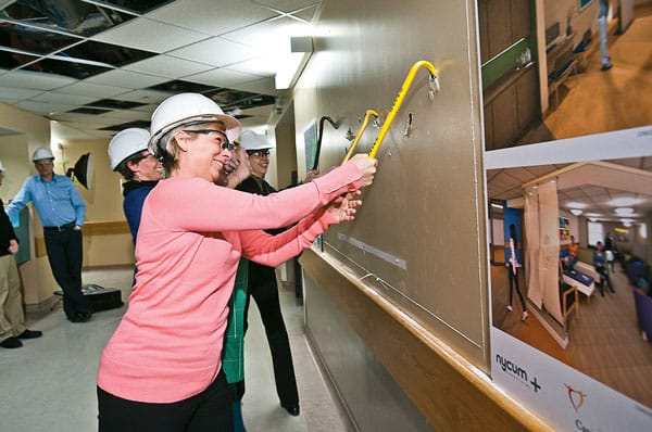 Breast health advocate (and enthusiastic renovator) Susan McBride leads the charge on the  construction of the diagnostic imaging wing of the new Breast Health Centre at the IWK Health Centre in Halifax.