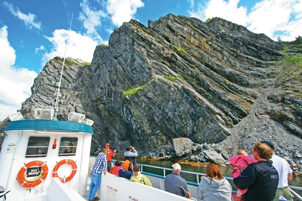 Sailing past Gros Morne National Park's Shag Cliff.