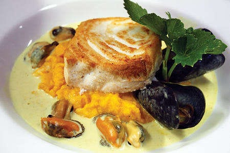 Halibut with curried mussel sauce