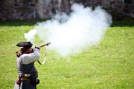 What a blast! The firing of muskets at Fortress of Louisbourg National Historic Site, in Cape Breton.