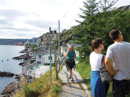 The start, or the end, of the North Head Trail, which encircles Signal Hill; the Cabot Tower at Signal Hill.