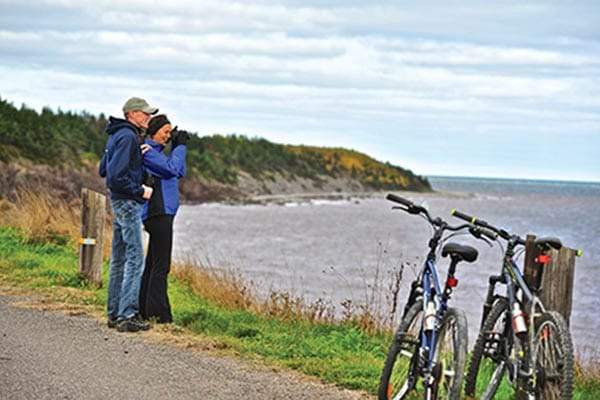 Taking in the scenery along the Celtic Shores Coastal Trail.