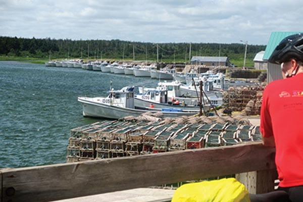 Taking in the view at Naufrage Harbour in eastern PEI.