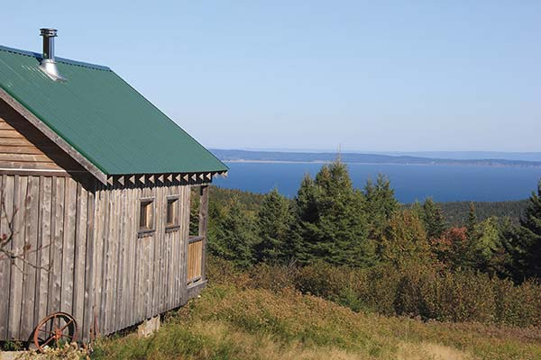 The incredible views from the verandah of our rustic cabin in Fundy Park.