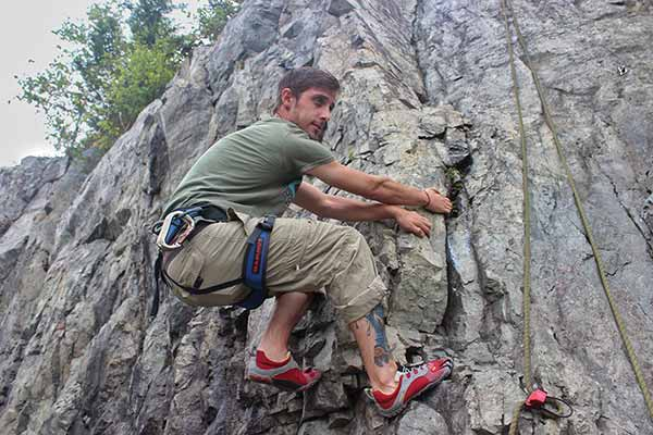 Alex Reid teaches rock climbing in Rockwood Park.