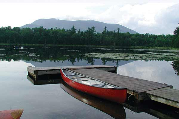 First Little Lyford Pond, a popular brook trout fishing pond at Little Lyford Lodge and Cabins in Maine's 100-Mile Wilderness region.