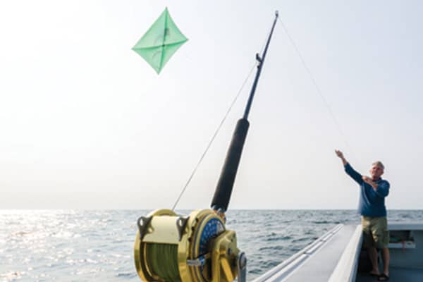 Kites are used to dangle mackerel on the water's surface in hopes of enticing a strike from a bluefin tuna.