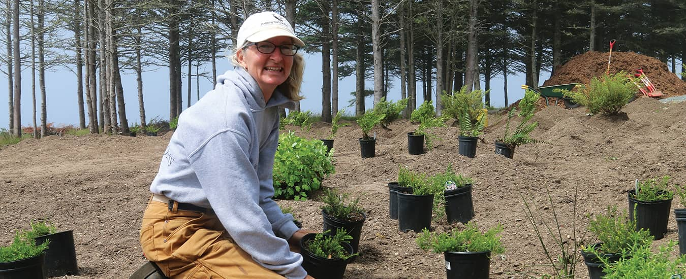 Rosmarie Lohnes with some of the perennials and shrubs she is using on a project.