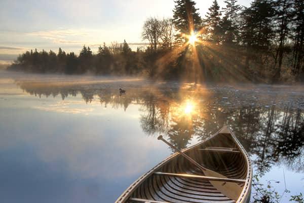 Willard Hewey (canoe) resting on the Tusket River.