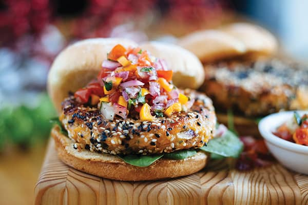 Sweet Potato Burgers with Maple Vegetable Salsa, a favourite of the Keddys, farmers in Lakeville, NS.