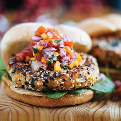 Sweet Potato Burgers with Maple Vegetable Salsa