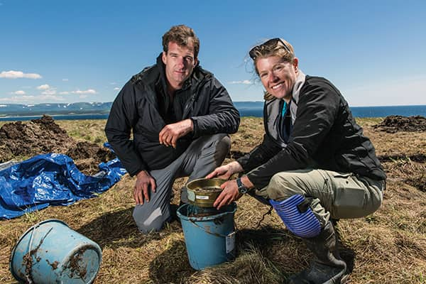 Historian and broadcaster Dan Snow and archeologist Dr. Sarah Parcak at Point Rosee, NL.