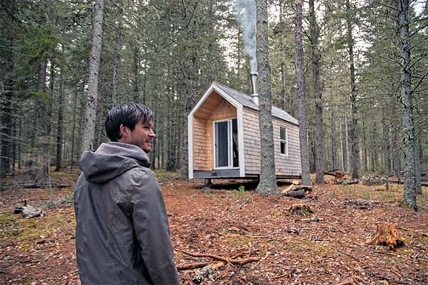 Community Forests International co-founder and program director, Daimen Hardie, outside the Whaelghinbran Nomadic Cabin.