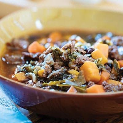 Italian Sausage, Sweet Potato, Kale and Black Bean Soup