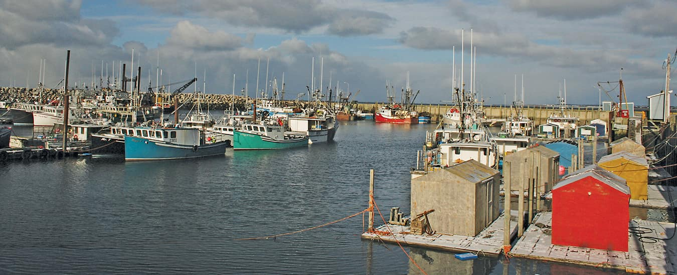 Colourful fishing boats in Meteghan.