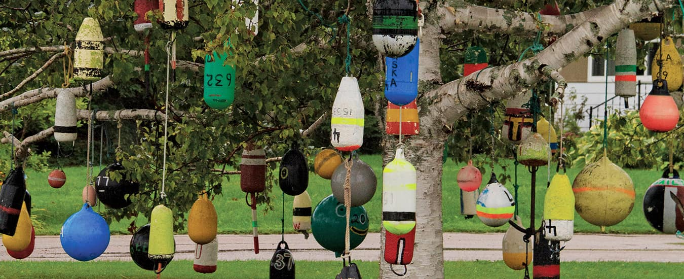 Colourful buoys make unique outdoor decorations