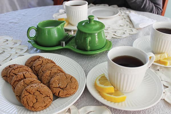 Tea and Eleanor Roosevelt's ginger cookies at Wells-Shober Cottage.