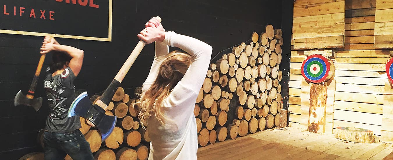 At the Timber Lounge in Halifax, customers throw double-headed axes at a wooden bullseye—and love it.