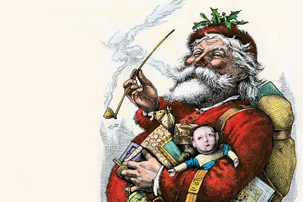 In the 1880s Thomas Nast and other artists drew on characters including Saint Nicholas to develop the red suited, rotund Santa we know today.