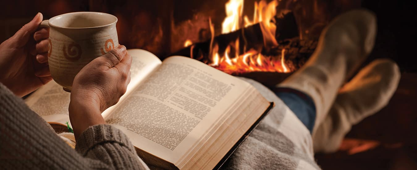 Curl up with a good book and a mug of your favourite brew in front of a fireplace.