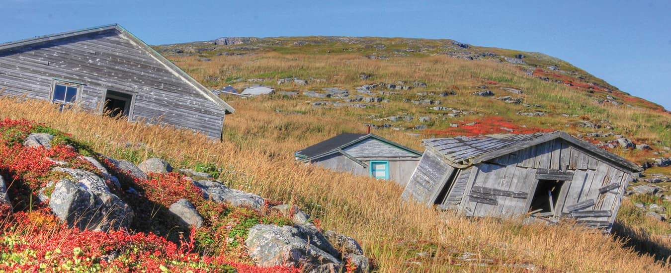 Abandoned homes and workstations at Trap Cove, a former outport on Caribou Island, Labrador.