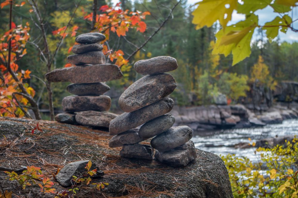 """INUKSHUKS"", by Pierre Giroux. Taken at Pabineau Falls, NB."