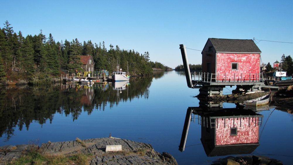 """Red Building at Blue Rocks"", by Kelly Donovan. Taken at Blue Rocks near Lunenburg, NS."