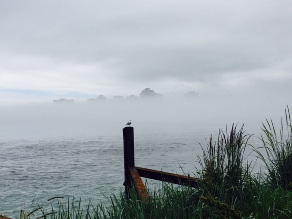 """Waiting for the fog to lift"", by Cindy Steeves. Taken at Dartmouth side of Halifax Harbour."