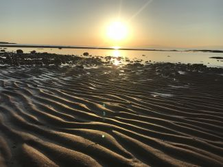 Sandbar and sunset by