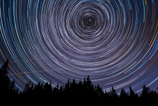 Star trails over Lorneville Creek by