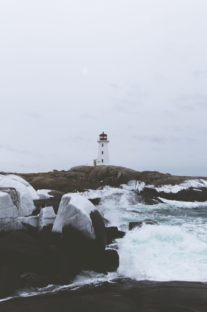 """Winter lighthouse"", by Dylan Hebb. Taken at Peggy's Cove."