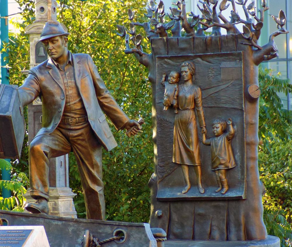 """Canadian Museum of Immigration at Pier 21 bronze"", by Deborah Peever. Taken at Halifax N.S."
