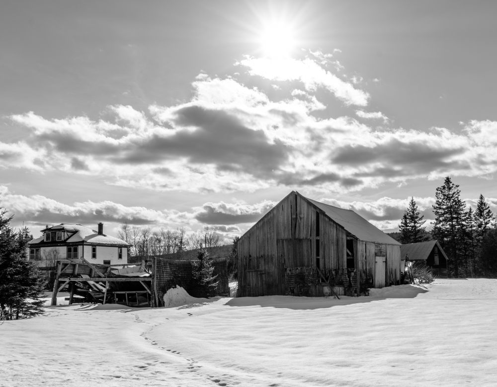 """A winter's farmscape"", by Jason Jeandron. Taken at Durham Bridge, NB."
