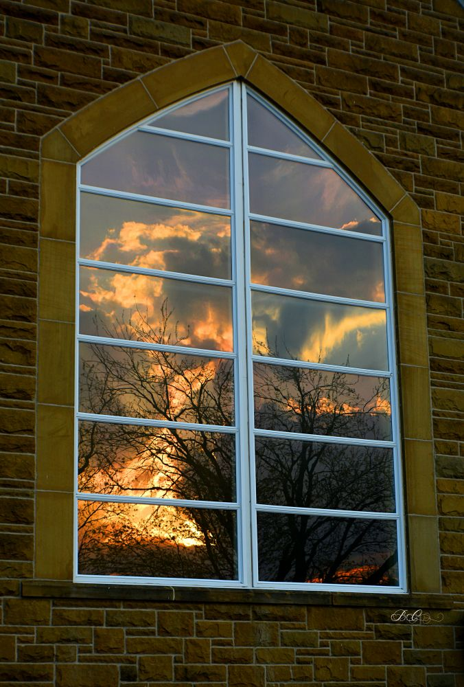 """Burning Bush - Church Window reflecting sunset"", by Bonnie Coughlan. Taken at Miramichi, NB."