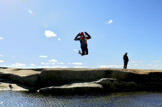 Getting Air at Peggy's Cove by