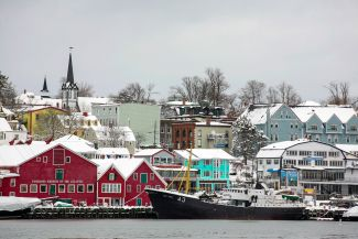 Snow on the Lunenburg waterfront by