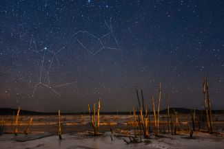 The constellations Canis Major and Lepus over dead by